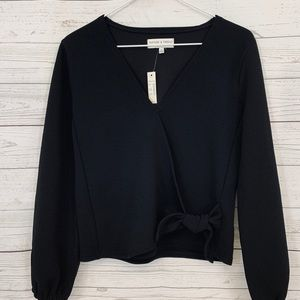 MADEWELL Texture and Thread black side wrap top XS